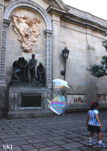 Large bubble behind a young girl. photo by Shara Johnson