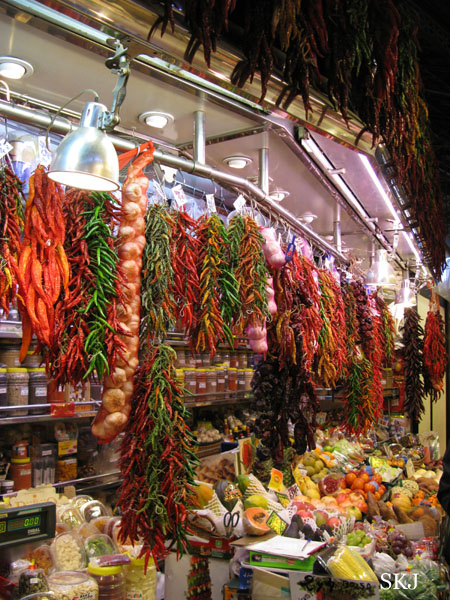 Bunches of colorful peppers for sale in the market along the Ramblas. photo by Shara Johnson