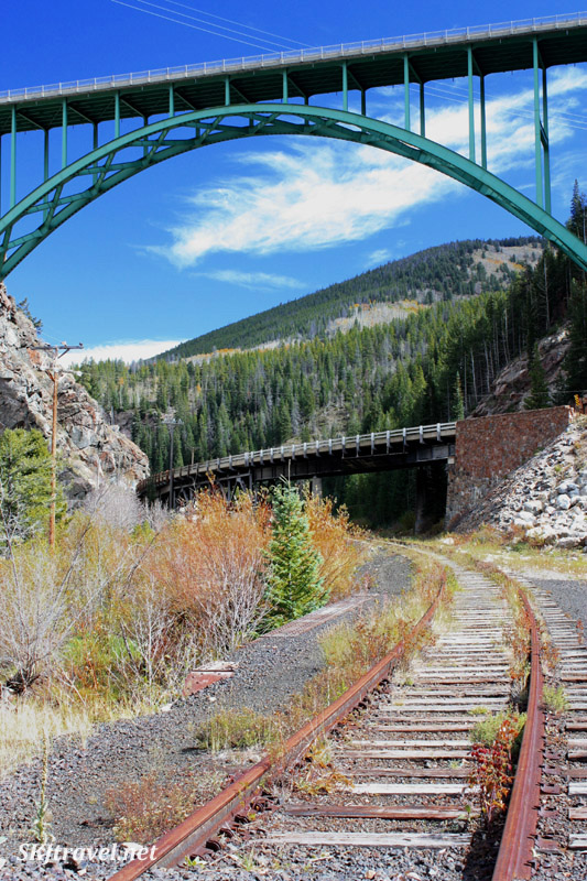 Abandoned railroad tracks and two modern highway bridges (upper one is Hwy 24) near Redcliff, Colorado.
