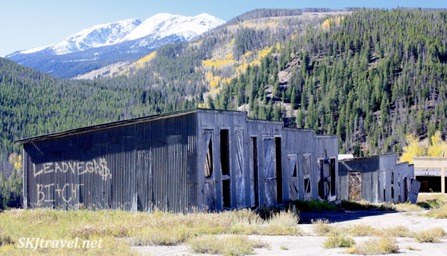Rows of garages for mining equipment in the abandoned mining town of Gilman, Colorado.