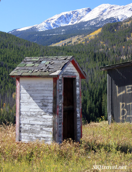 Fire hose hut on the hillside in the abandoned town of Gilman, Colorado.