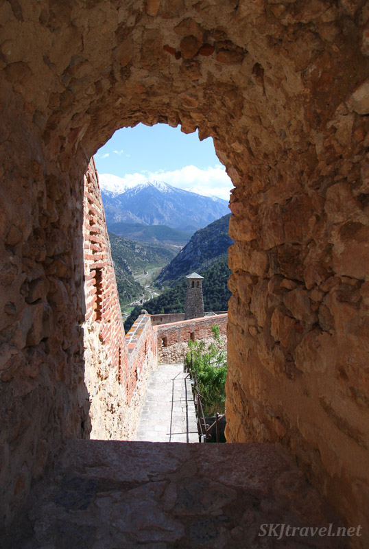Looking down onto a watchtower inside Fort Liberia above the town of Villefranche de Conflent in the French Pyrenees, France.