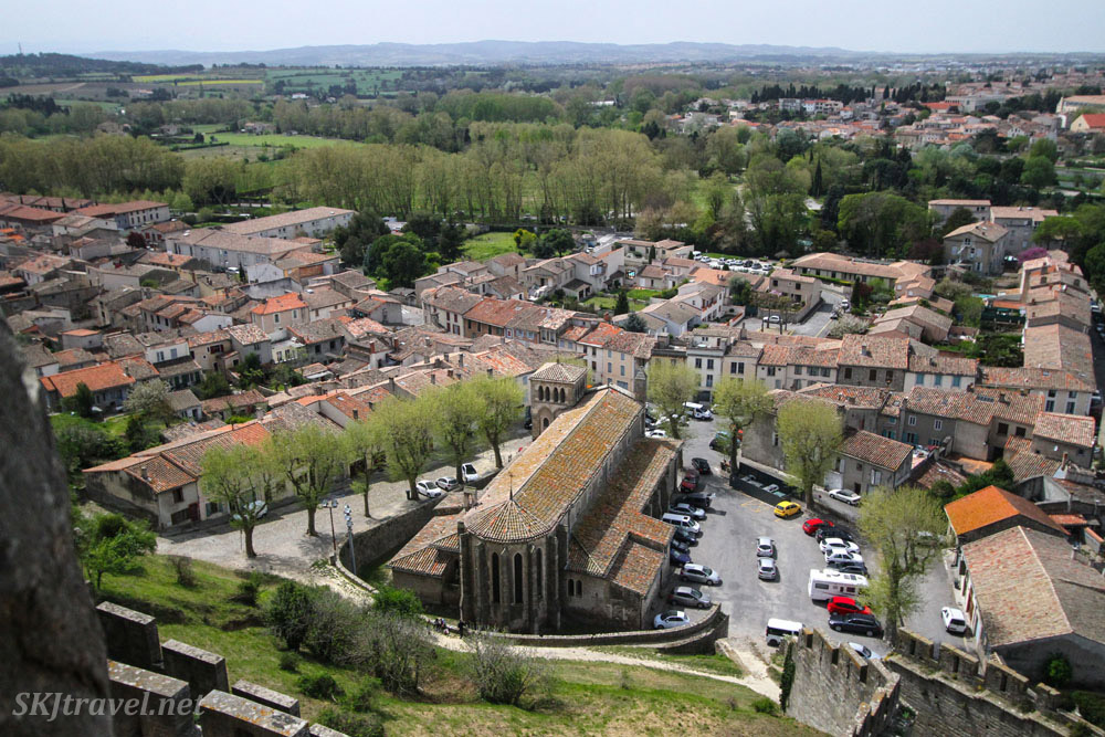 View from a wall of the medieval city of Carcassonne, France.