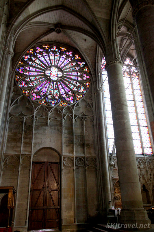 Interior rose window of Basilica of St. Nazaire and St. Celse inside the ancient walled city of Carcassonne, France.
