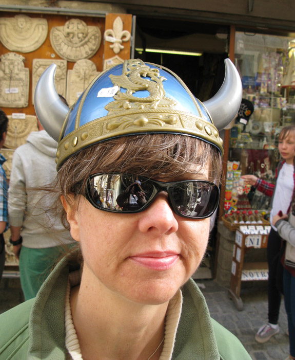 "Brief encounter with a viking ""helmet"" at a souvenir shop in Carcassonne, France."