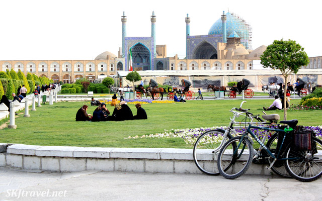 Women picnicking in the Iman Square, Isfahan, Iran.