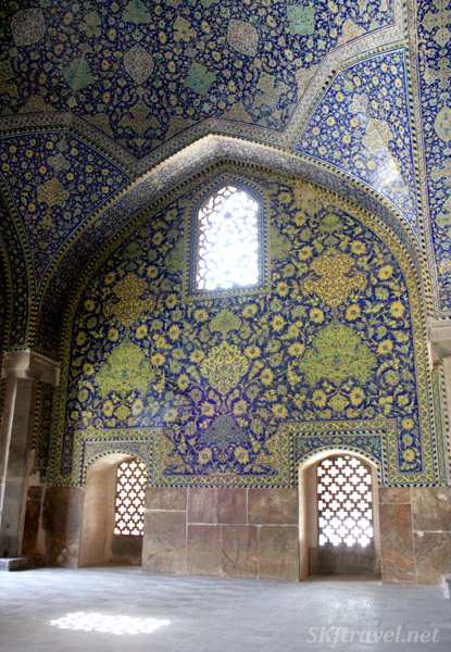 Inside the Imam Mosque, Isfahan, Iran.