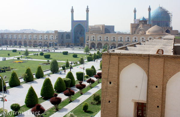 Looking over Imam Square (nagsh-e-jahan) toward Imama mosque from the Ali Qapu. Isfahan, Iran.
