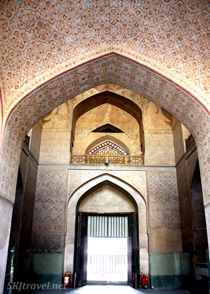 Painted interior walls with arches. Ali Qapu, Isfahan, Iran.