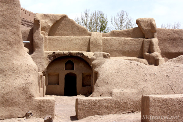 Mud plaster residences in the ancient citadel of Rayen, Iran.