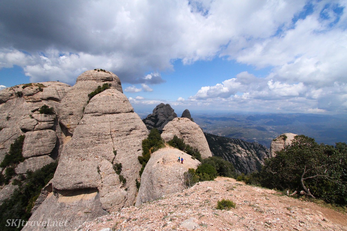 View from a peak at Montserrat, Spain, looking at a higher rock formations.