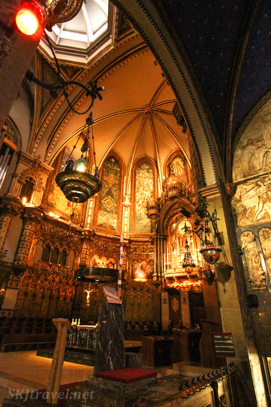 Golden interior room Inside the monastery of Montserrat, Spain.