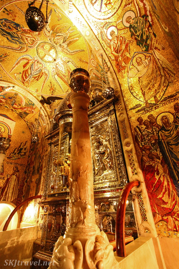 Golden interior room, lavishly decorated, inside the monastery of Montserrat, Spain.