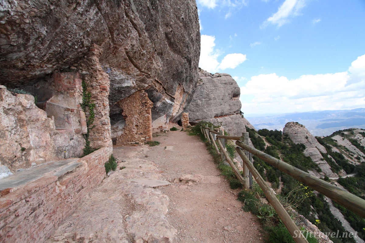 Paths cut into the rock of the mountainside at Montserrat, Spain.