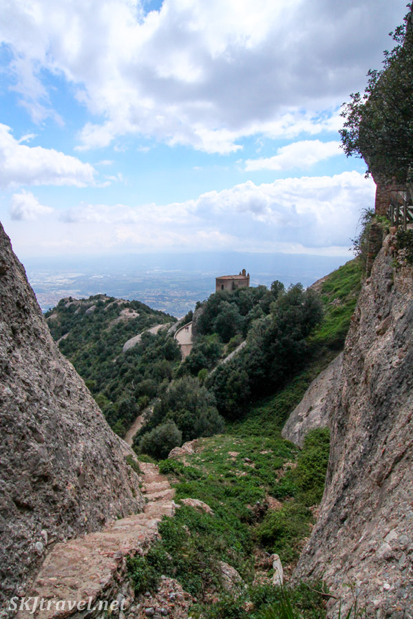 Small hermitage perched on the rocks of Montserrat, Spain.