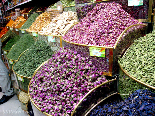 Dried flowers and herbs inside the bazaar, Tehran, Iran.