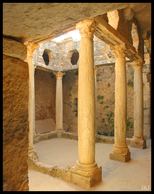 Pillars in a underground central courtyard in ancient Roman city of Bulla Regia. Tunisia.