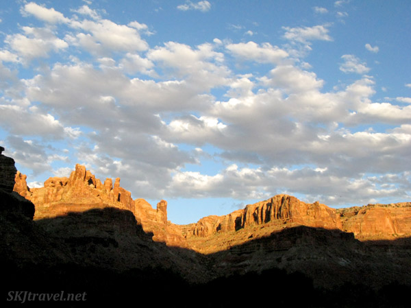 Canyon walls at sunset along the Green River, Utah.