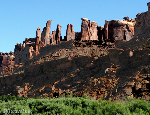 Rock spires along the Green River that reminded us of the ancient ruins of Persepolis. Utah.