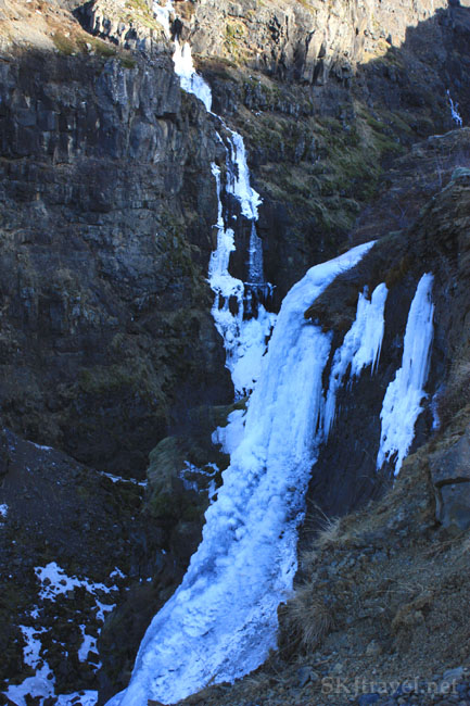 Water seeping from cliff walls turned into ice, Glymur Falls, Iceland. Photo by Shara Johnson