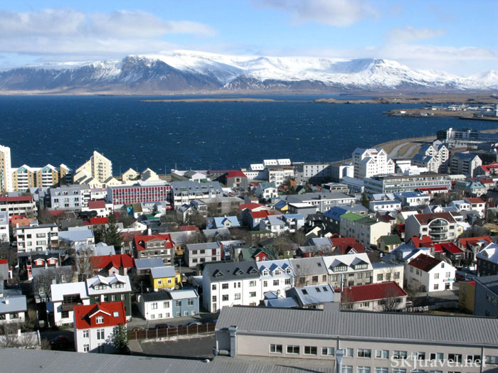 overlooking Reykjavik city and ocean