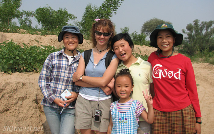 Me with some of the Dang Jia Shan village children. Cao-Yu to my right in yellow shirt, Lei-Lei in front.