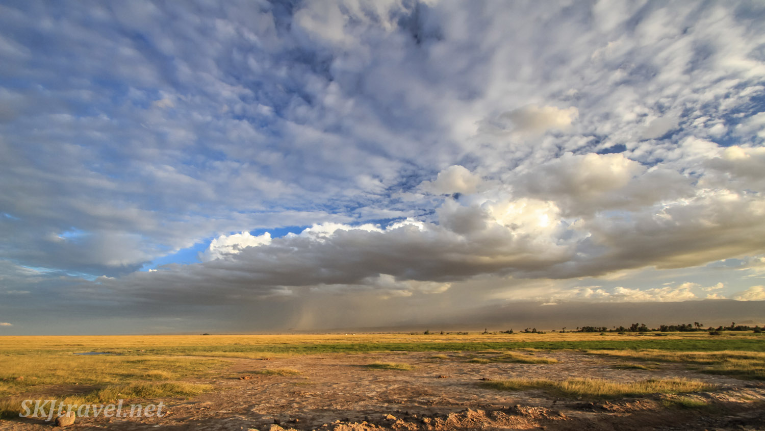 Plains and clouded skies at Amboseli, Kenya.