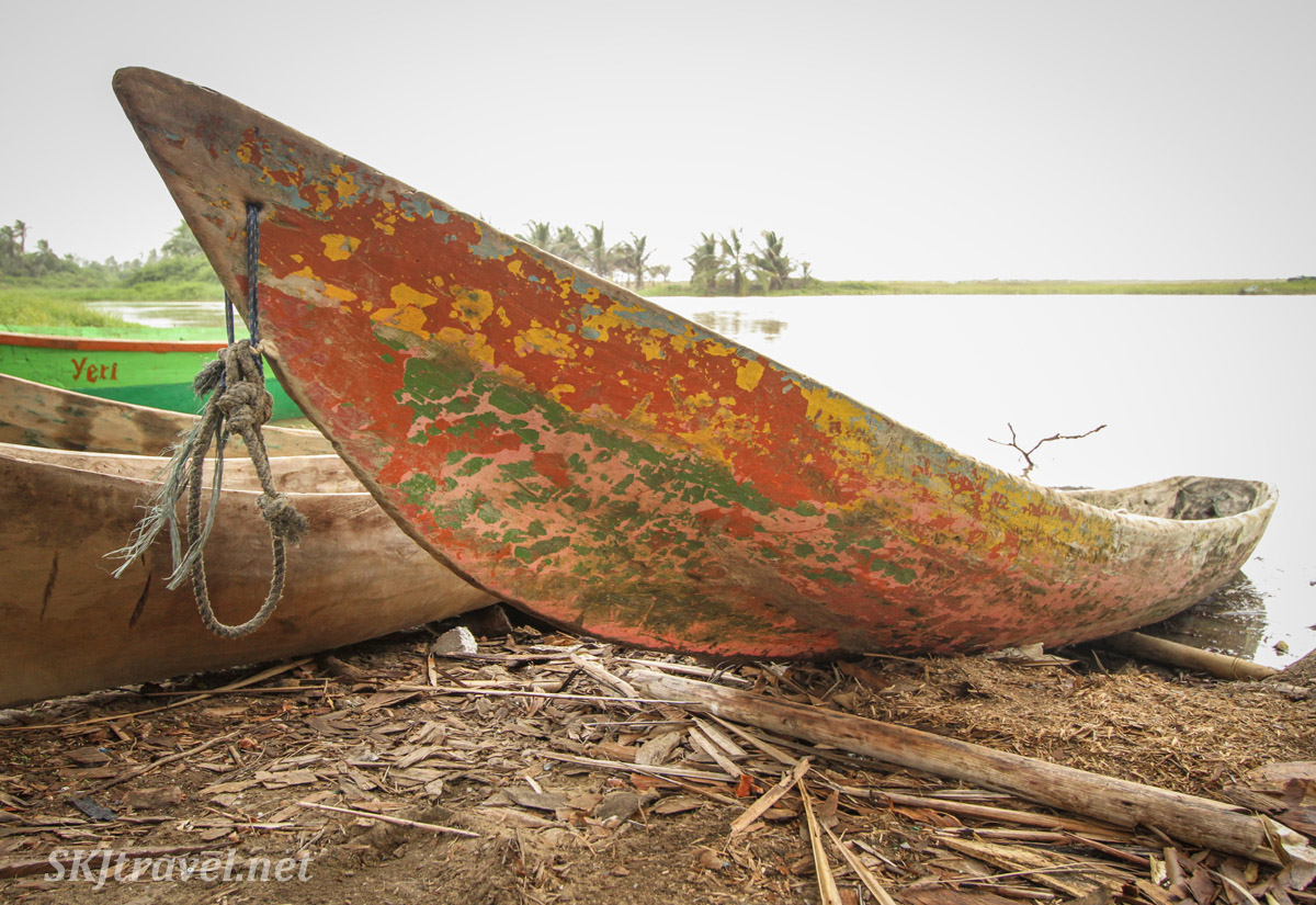 Painted dugout canoe on the beach at Armila, Guna Yala, Panama.