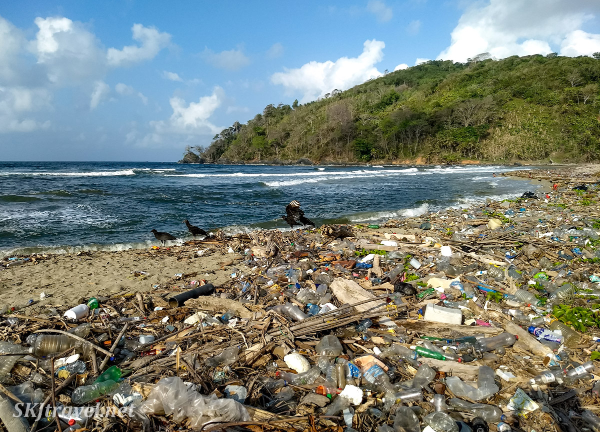 Heaps of garbage washed on the beaches of Armila, Guna Yala, Panama.
