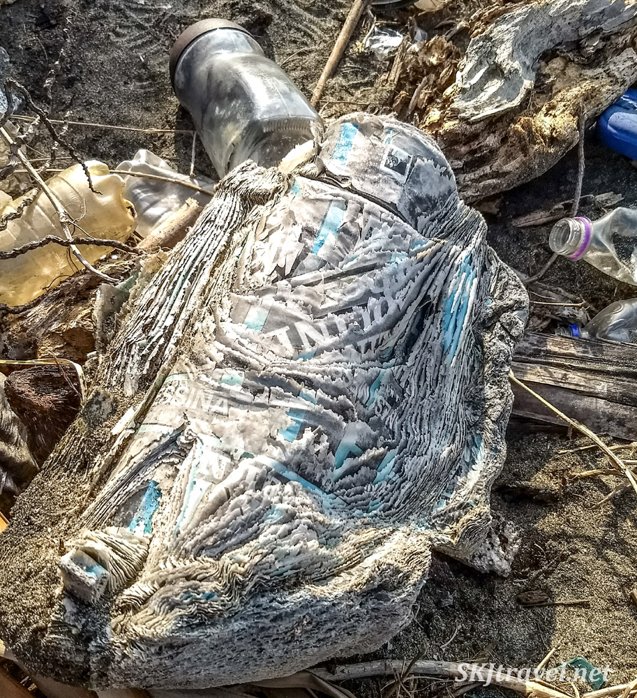 Solidified paper (?) among the heaps of trash along the beaches of Armila, Guna yala, Panama.