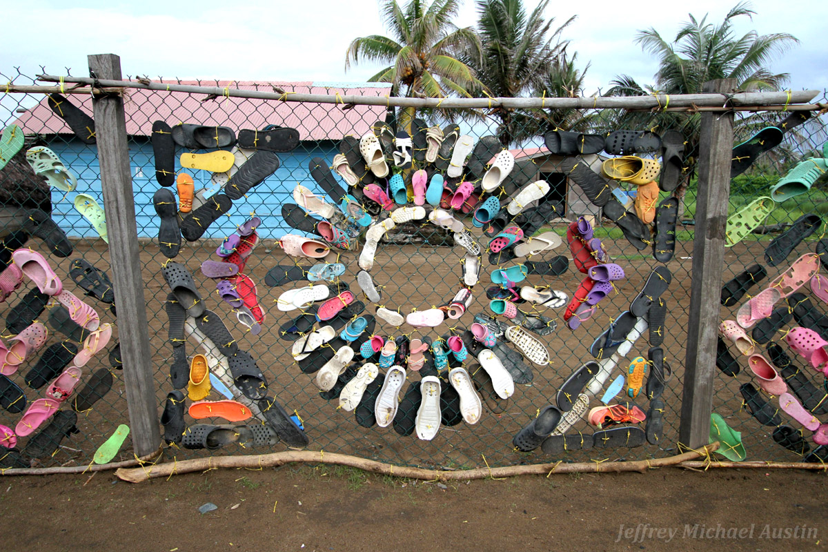 Artwork of Jeffrey Michael Austin, shoes gathered from the beach trash tied into geometric patterns. La Wayaka Artist Residency, Armila, Guna Yala, Panama.