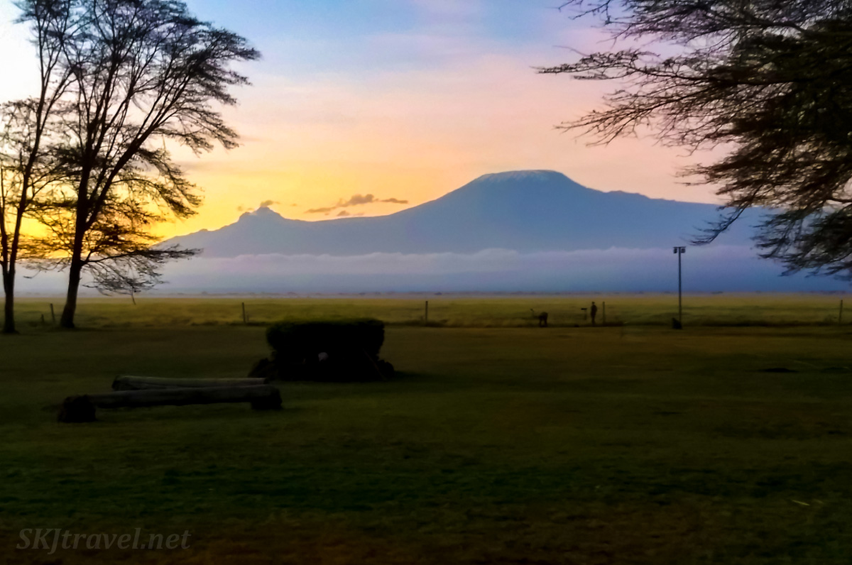 Mt Kilimanjaro at sunset from Ol Tukai Lodge, Amboseli, Kenya.