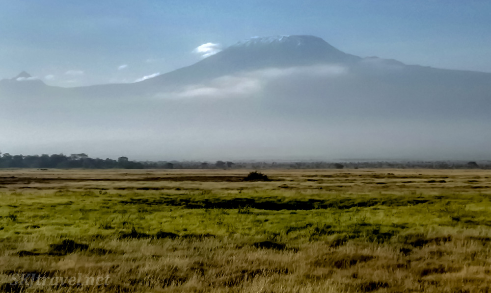 Mt Kilimanjaro at sunrise from Ol Tukai Lodge, Amboseli, Kenya.
