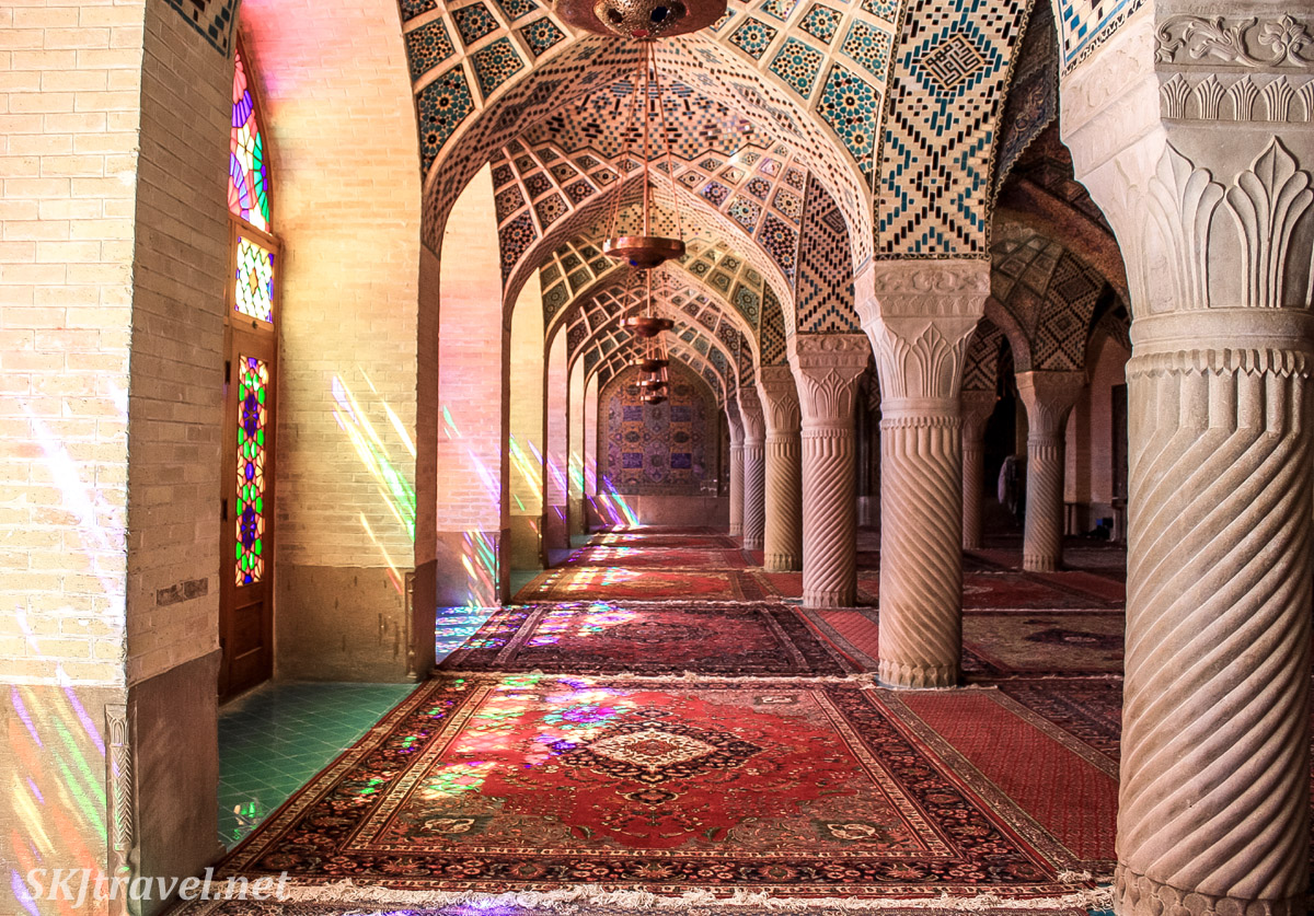 Stained glass windows inside Nasir-al-Molk mosque, the pink mosque, Shiraz, Iran.