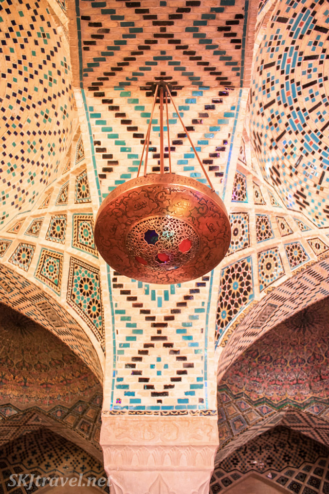 Ceiling inside Nasir-al-Molk mosque, the pink mosque, Shiraz, Iran.