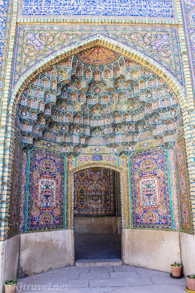 Outdoor alcove at Nasir-al-Molk mosque, the pink mosque, Shiraz, Iran.