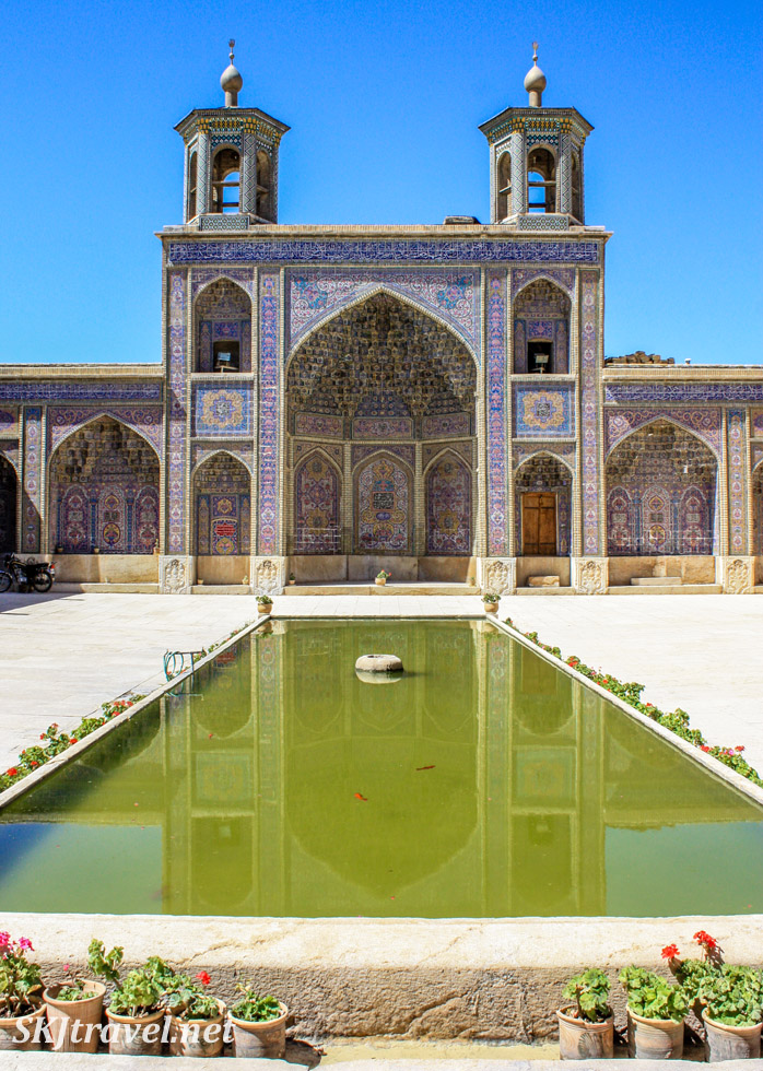 Reflecting pool in the courtyard of Nasir-al-Molk mosque, Shiraz, Iran.