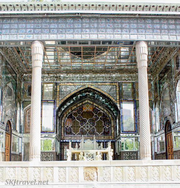 Mirrored and jeweled ceilings, throne, Golestan Palace, Tehran, Iran.