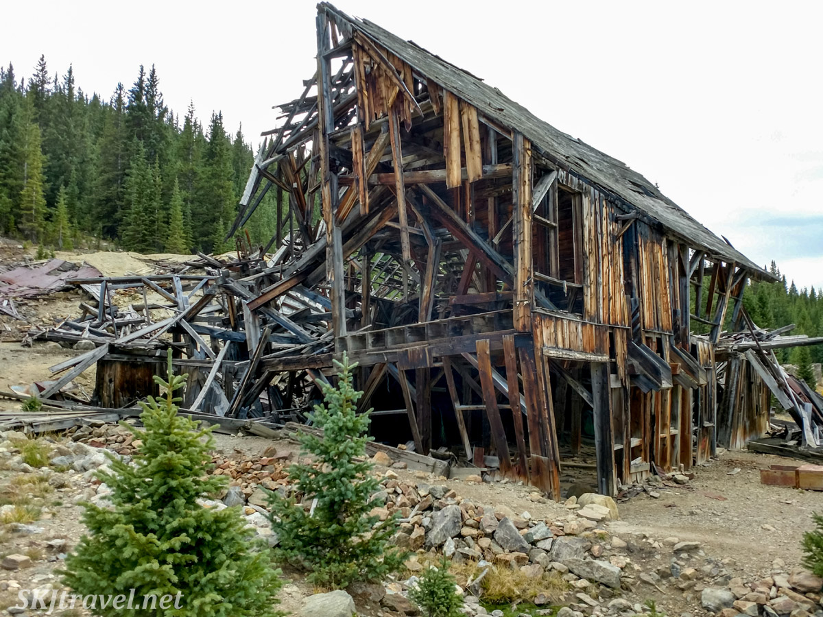 Collapsing remains of Pennsylvania Mill, September 2020, off Peru Creek Road, Montezuma, Colorado.