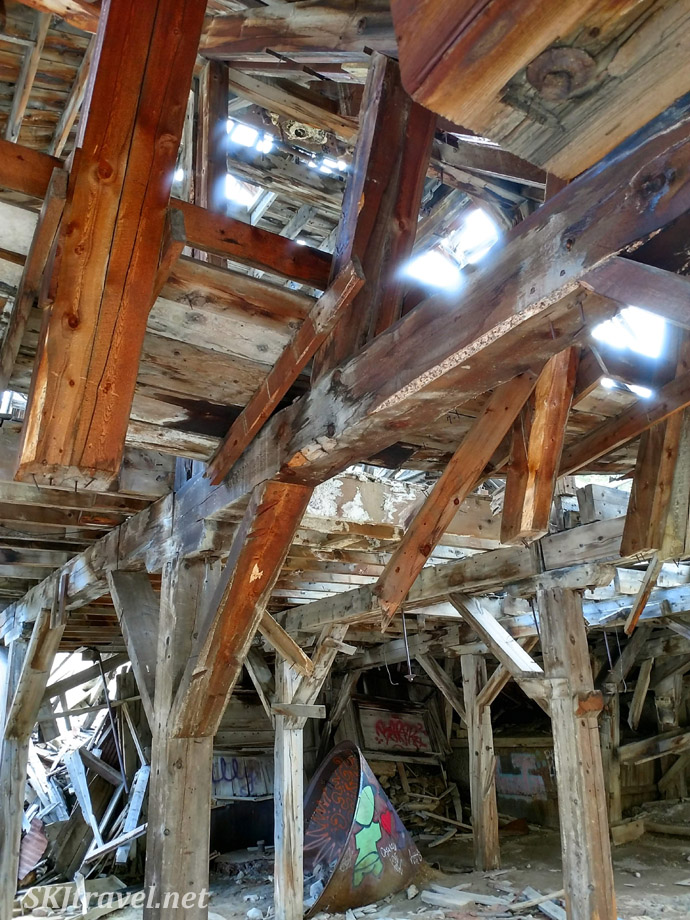 Inside collapsing remains of Pennsylvania Mill, September 2020, off Peru Creek Road, Montezuma, Colorado.