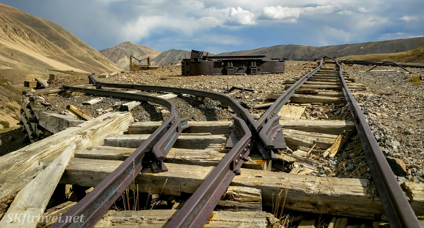 Mining cart tracks at the ruins of Dauntless Mine near Fairplay, Colorado.
