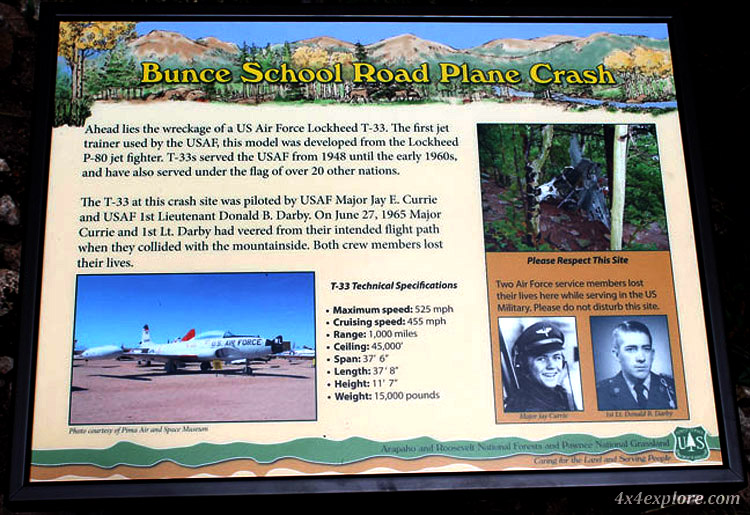 Information about Bunce School Road Plane Crash Site. 4x4 trail, Colorado.