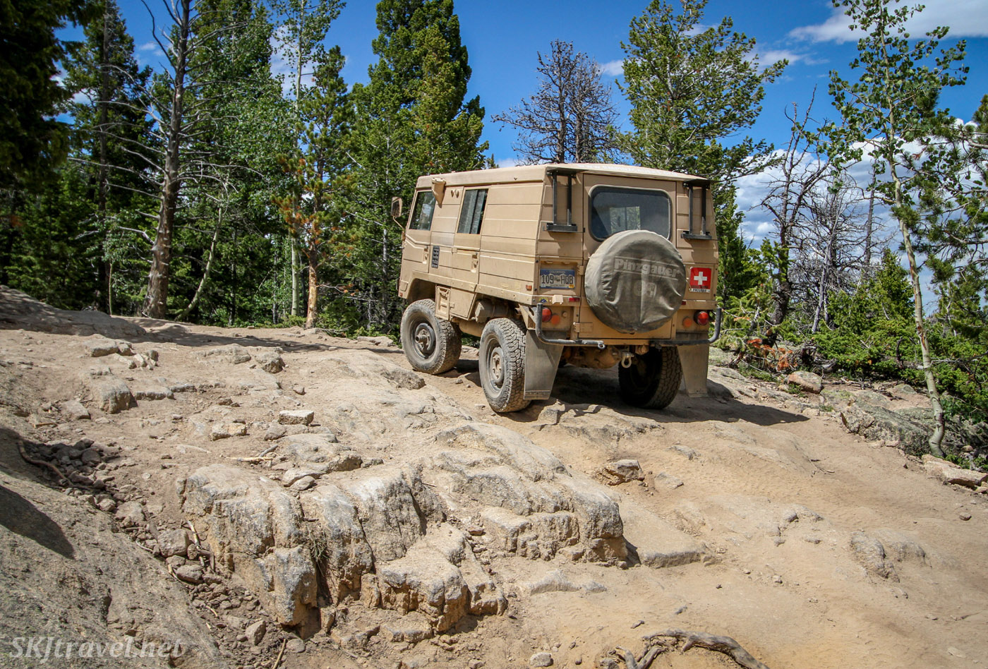 1973 Steyr Puch Pinzgauer on the T-33 plane crash site 4x4 trail. Colorado.