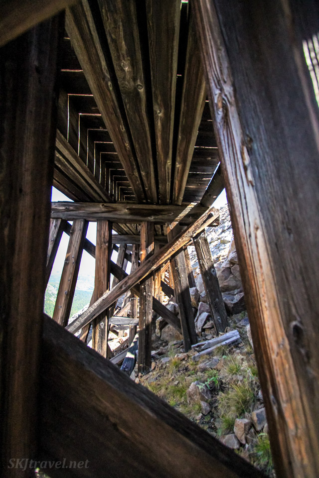 Wooden trestles at the Needle's Eye Tunnel, Rollins Pass (Corona Pass). Abandoned railroads, Colorado.