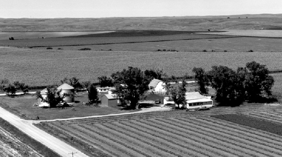 Aerial view of my grandparents' farm. Clarence and Beulah Maack farm, Cozad, Nebraska.