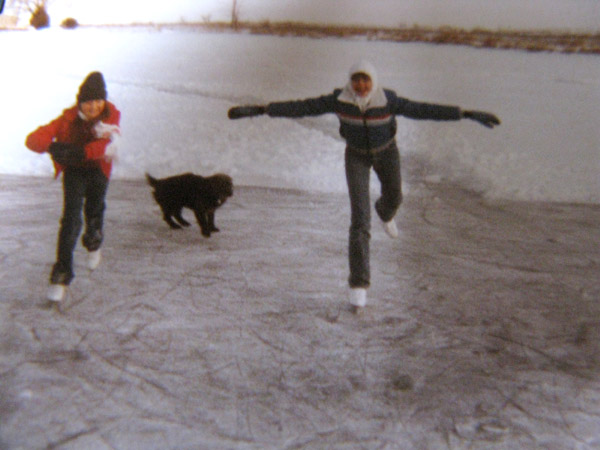 Ice skating on my grandparents' lake (me on right). Floyd and Arlene Sinor Twin Lakes Villa, Cozad, Nebraska.