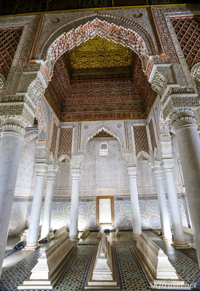 Inside the Saadian Tombs, Marrakech, Morocco.