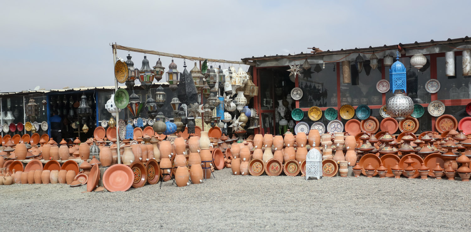 Roadside terra cotta pottery store between Marrakech and Essaouira, Morocco.