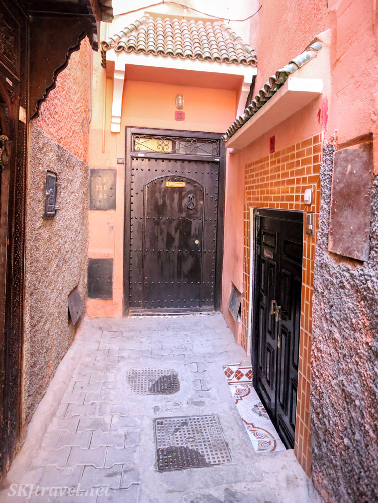 Doors in residential area of Marrakech medina, Morocco.