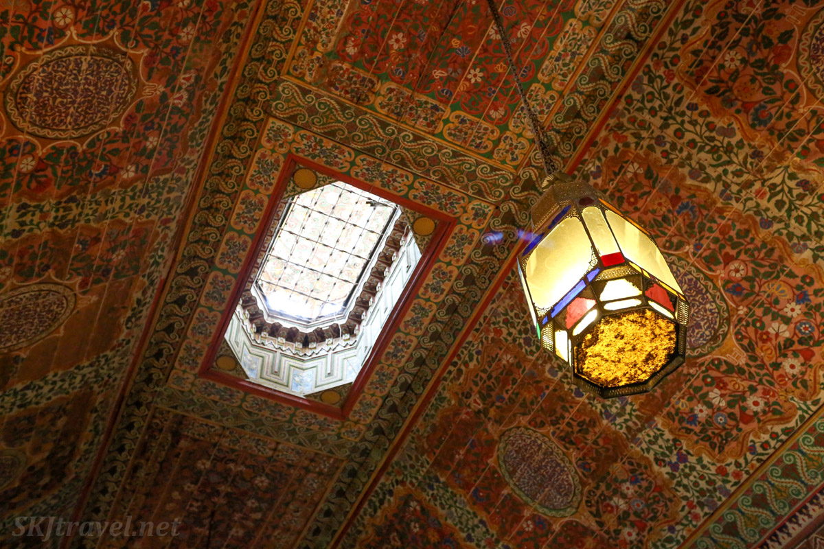 Cedarwood painted ceiling with skylight. Bahia Palace, Marrakech, Morocco. UNESCO World Heritage.